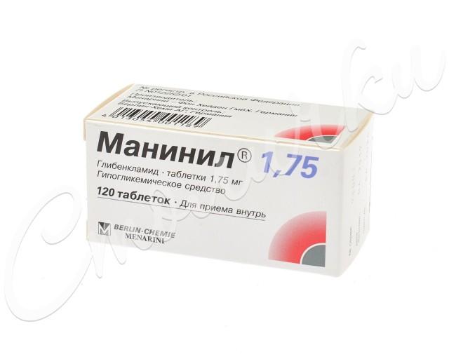 Манинил 1,75 таблетки 1,75мг №120 купить в Москве по цене от 111.5 рублей