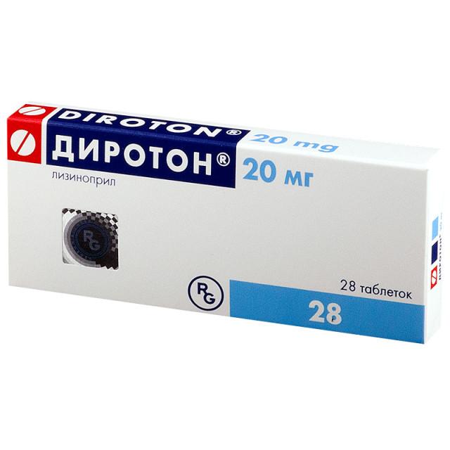 Диротон таблетки 20мг №28 купить в Москве по цене от 424.5 рублей
