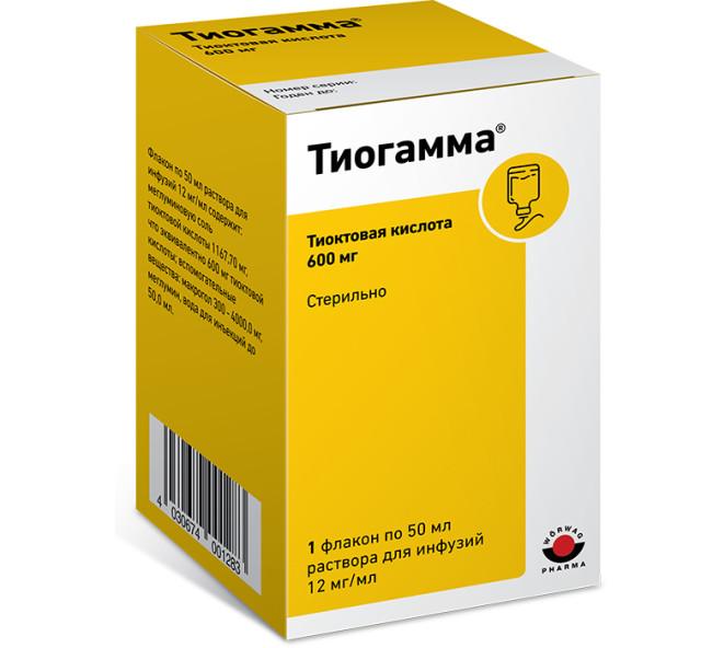 Тиогамма раствор для инфузий 1,2 % 50мл купить в Москве по цене от 223.5 рублей