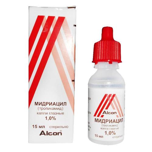 ПКУ Мидриацил капли глазные 1% 15мл купить в Москве по цене от 369.5 рублей