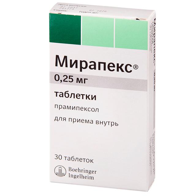 Мирапекс таблетки 0,25мг №30 купить в Москве по цене от 253 рублей