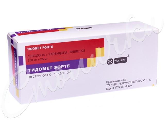 Тидомет форте таблетки 250мг+ 25мг №100 купить в Москве по цене от 618.5 рублей