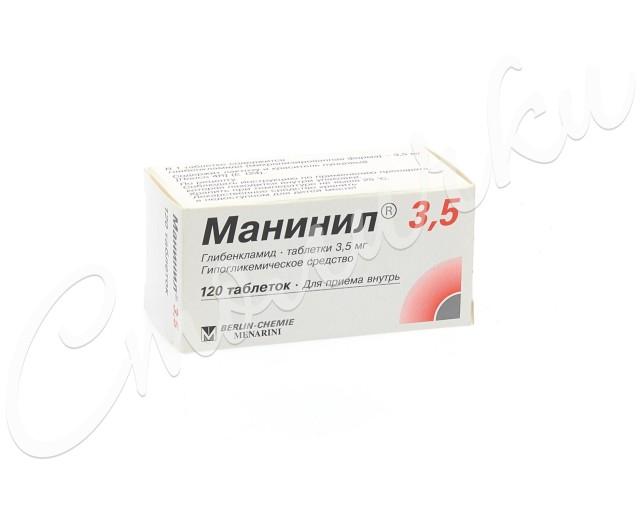 Манинил 3,5 таблетки 3,5мг №120 купить в Москве по цене от 152 рублей