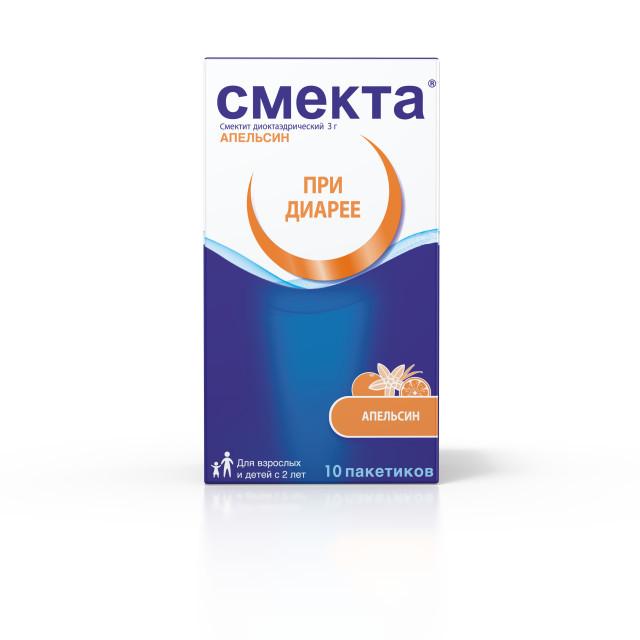 Смекта порошок для приготовления суспензии внутрь Апельсин 3г №10 купить в Москве по цене от 138.5 рублей