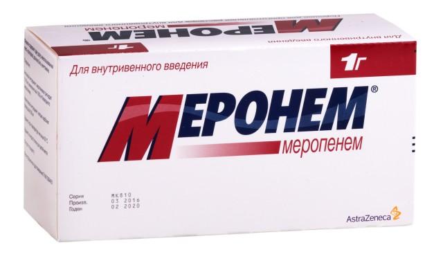 Меронем порошок лиофилизат для инъекций 1г №10 купить в Москве по цене от 9087.5 рублей