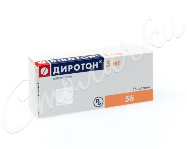 Диротон таблетки 5мг №56 купить в Москве по цене от 348 рублей