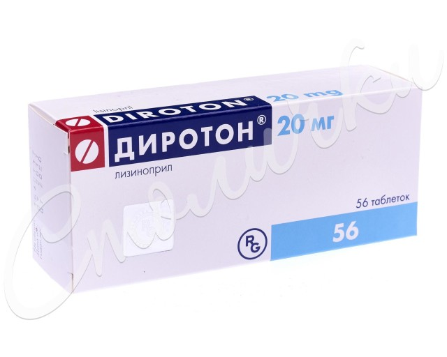 Диротон таблетки 20мг №56 купить в Москве по цене от 753.5 рублей