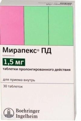 Мирапекс ПД таблетки пролонгированные 1,5мг №30 купить в Москве по цене от 1429.5 рублей