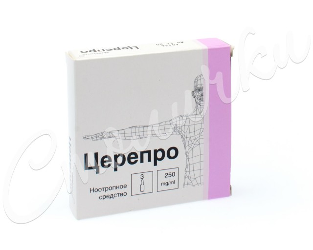 Церепро раствор внутривенно и внутримышечно 250мг/мл 4мл №3 купить в Москве по цене от 496 рублей