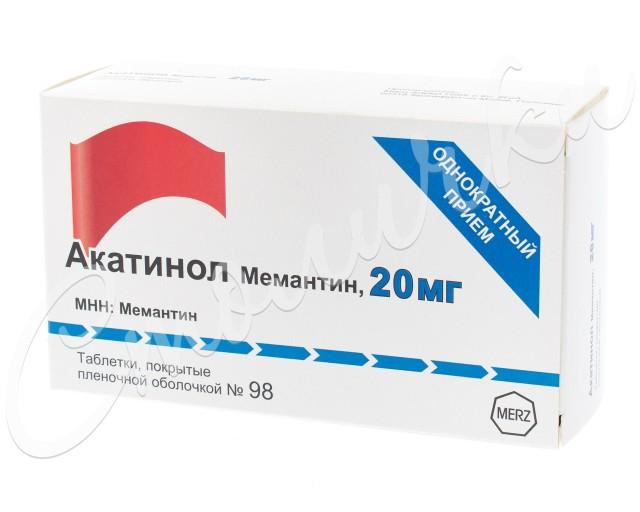 Акатинол Мемантин таблетки п.о 20мг №98 купить в Москве по цене от 8168.5 рублей