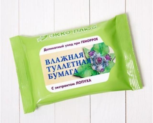 Бумага туалетн. влаж. антигемор. Лопух №20 купить в Москве по цене от 0 рублей