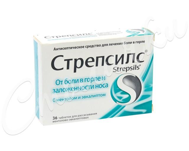 Стрепсилс Ментол/эвкалипт таблетки для рассасывания №36 купить в Москве по цене от 285 рублей