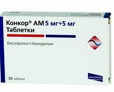 Конкор АМ таблетки 5мг+5мг №30 купить в Москве по цене от 398 рублей
