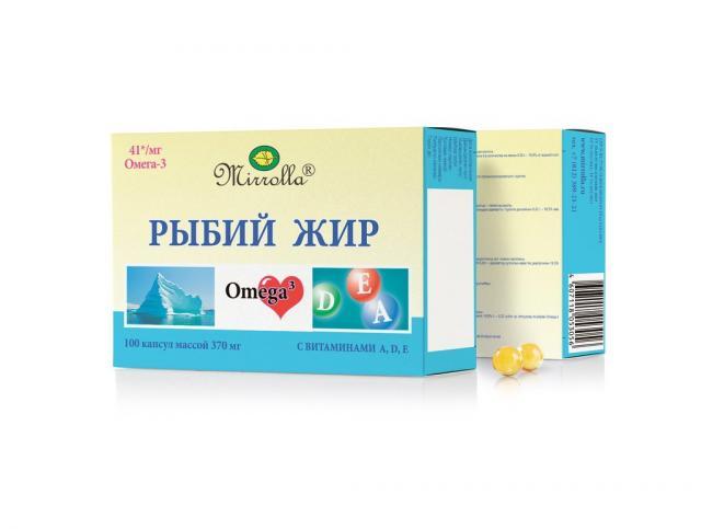 Рыбий жир Мирролла Вит. А, Д, Е капсулы №100 купить в Москве по цене от 50 рублей