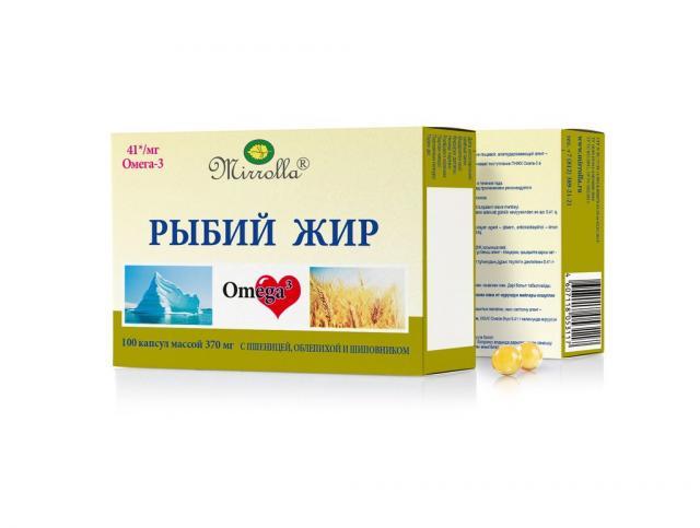 Рыбий жир Мирролла Пшеница/облепиха/шиповник капсулы №100 купить в Москве по цене от 45 рублей