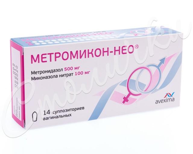 Метромикон-Нео суппозитории вагинальные 500мг+100мг №14 купить в Москве по цене от 412 рублей