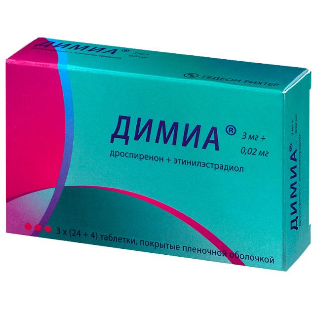 Димиа таблетки п.о 3мг+0,02мг №84 купить в Москве по цене от 1980 рублей