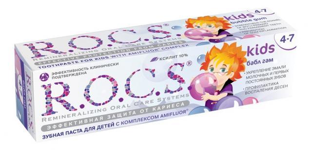 Рокс зубная паста Кидс Бабл гам для детей 4-7лет 45г купить в Москве по цене от 206 рублей