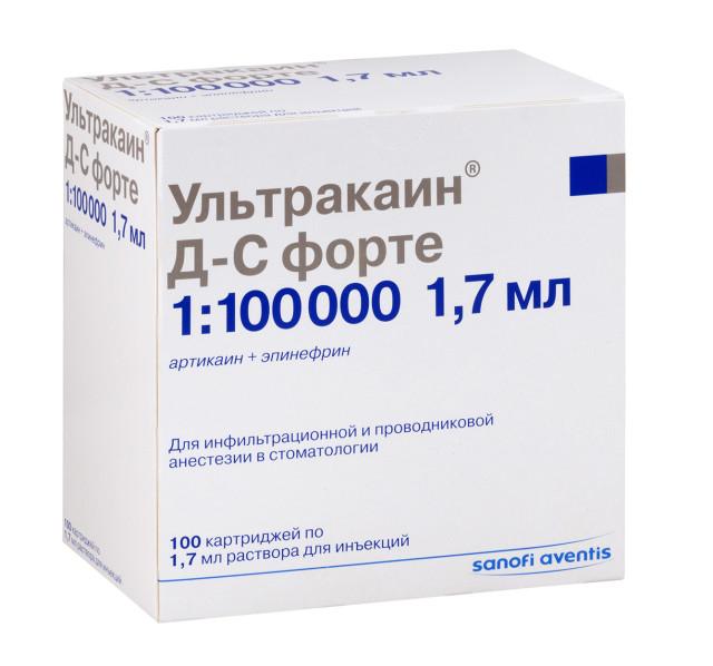 Ультракаин ДС форте раствор для инъекций картридж 1,7мл №100 купить в Москве по цене от 6400 рублей