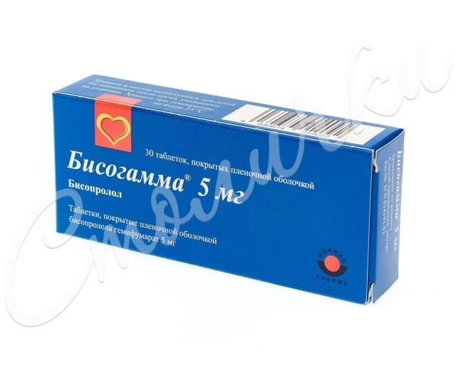 Бисогамма таблетки п.о 5мг №30 купить в Москве по цене от 107.5 рублей