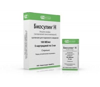 Биосулин Н суспензия подкожно 100 МЕ/мл 10мл купить в Москве по цене от 533 рублей