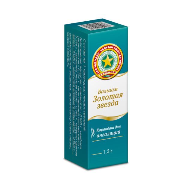 Золотая звезда карандаш для ингаляций 1,3г купить в Москве по цене от 148 рублей