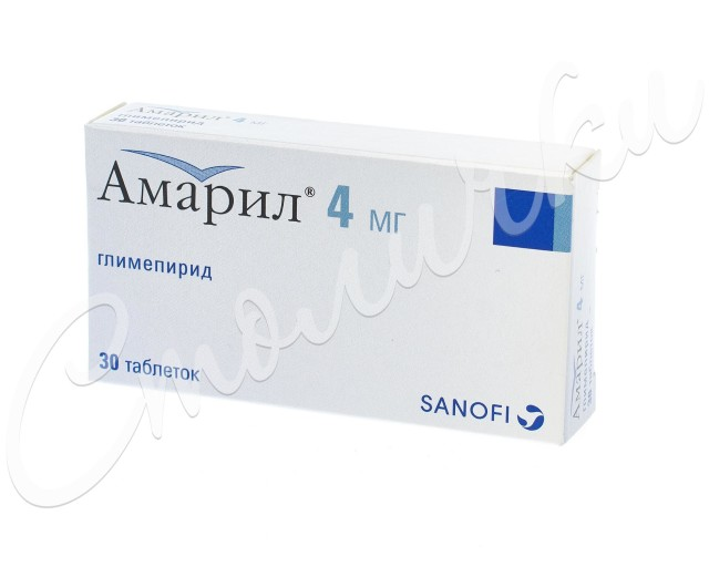Амарил таблетки 4мг №30 купить в Москве по цене от 1400 рублей