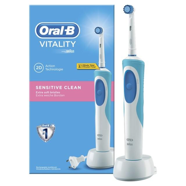 Орал Би зубная щетка электрическая Виталити Сенситив Клин D12.513S т.3709 купить в Москве по цене от 2030 рублей