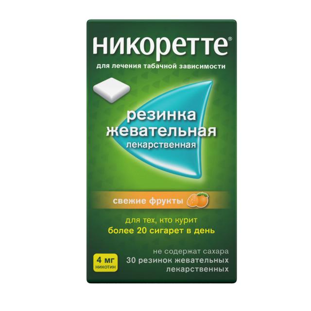 Никоретте резин. жевательные свежие фрукты 4мг №30 купить в Москве по цене от 605 рублей