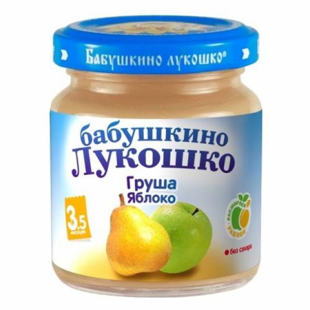 Бабушкино лукошко пюре груша/яблоко от 3,5мес. 100г купить в Москве по цене от 0 рублей