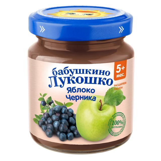 Бабушкино лукошко пюре яблоко/черника от 5мес. 100г купить в Москве по цене от 0 рублей