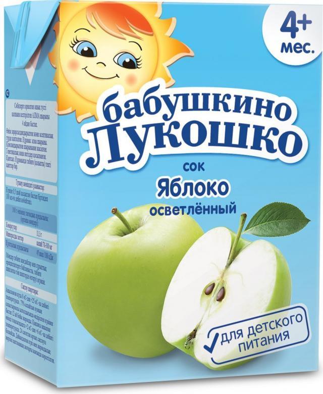 Бабушкино лукошко сок яблоко осветл. от 3мес. 200мл купить в Москве по цене от 0 рублей
