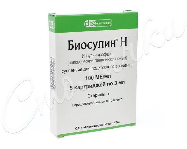 Биосулин Н суспензия подкожно 100 МЕ/мл 3мл №5 купить в Москве по цене от 1060 рублей