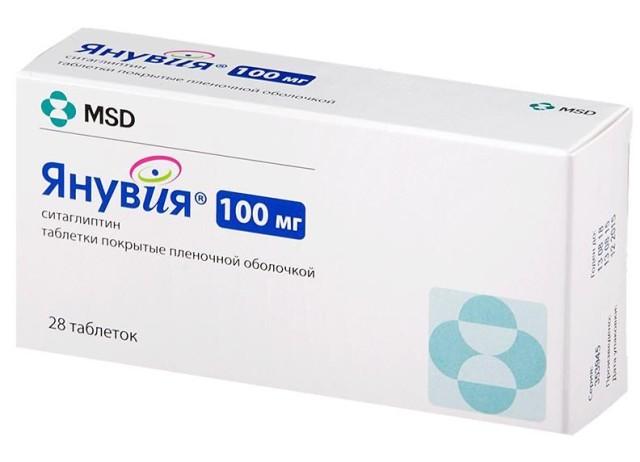 Янувия таблетки 100мг №28 купить в Москве по цене от 1538 рублей