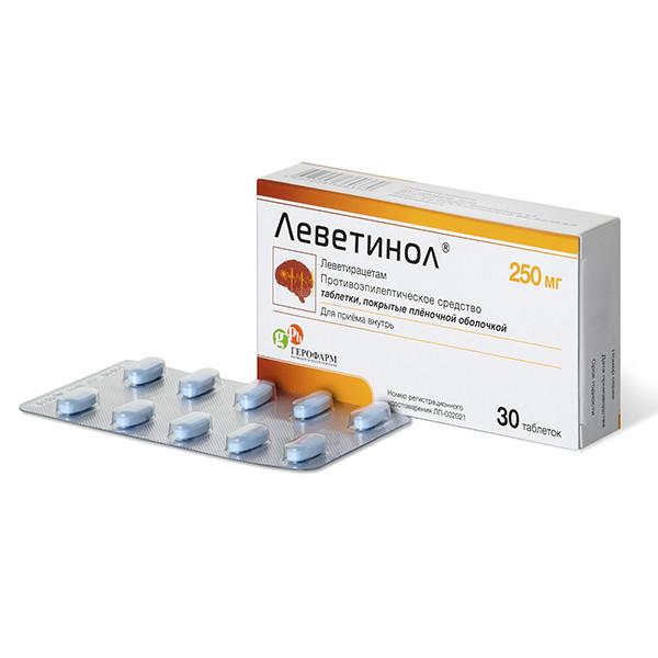 Леветинол таблетки п.о 250мг №30 купить в Москве по цене от 500 рублей