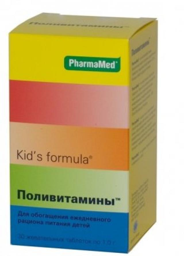 Кидс/ф Поливитамины таблетки жевательные №30 купить в Москве по цене от 0 рублей