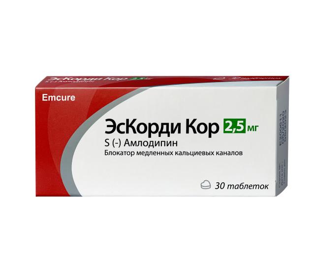 ЭсКорди Кор таблетки 2,5мг №30 купить в Москве по цене от 507 рублей