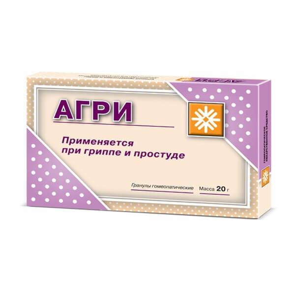 Агри (антигриппин гомеопатические) гранулы для взрослых 20г купить в Москве по цене от 116 рублей