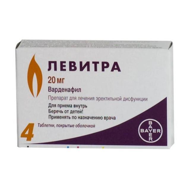 Левитра таблетки п.о 20мг №4 купить в Москве по цене от 3280 рублей