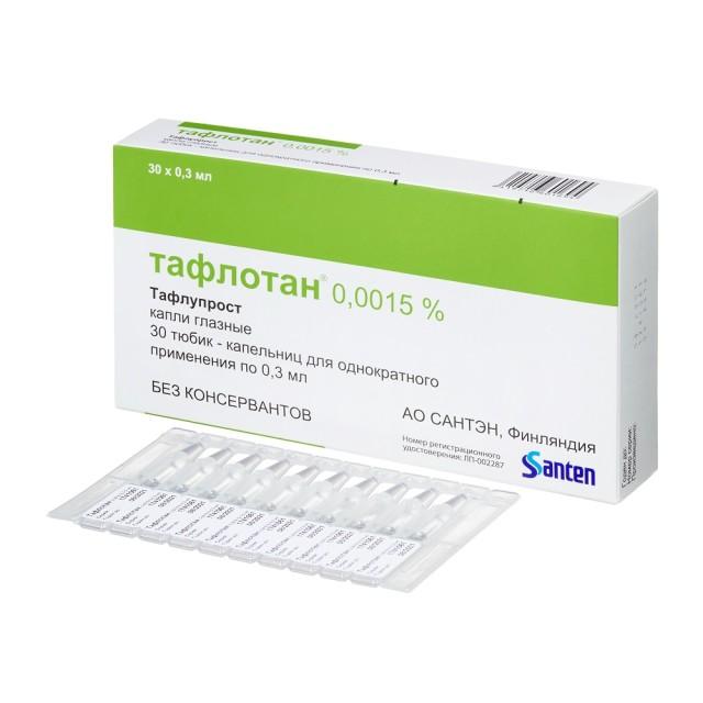 Тафлотан капли глазные 0,0015% 0,3мл №30 купить в Москве по цене от 844.5 рублей