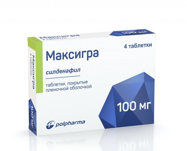 Максигра таблетки п.о 100мг №4 купить в Москве по цене от 816 рублей