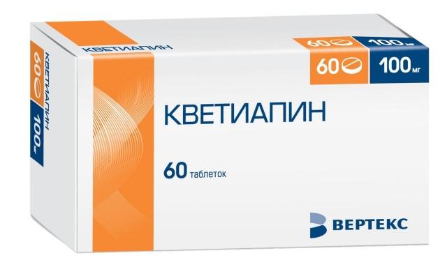 Кветиапин таблетки п.о 100мг №60 Вертекс купить в Москве по цене от 1072 рублей
