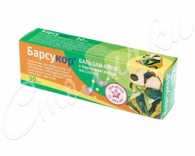 Барсукор бальзам-крем массажный для детей 30мл купить в Москве по цене от 72 рублей