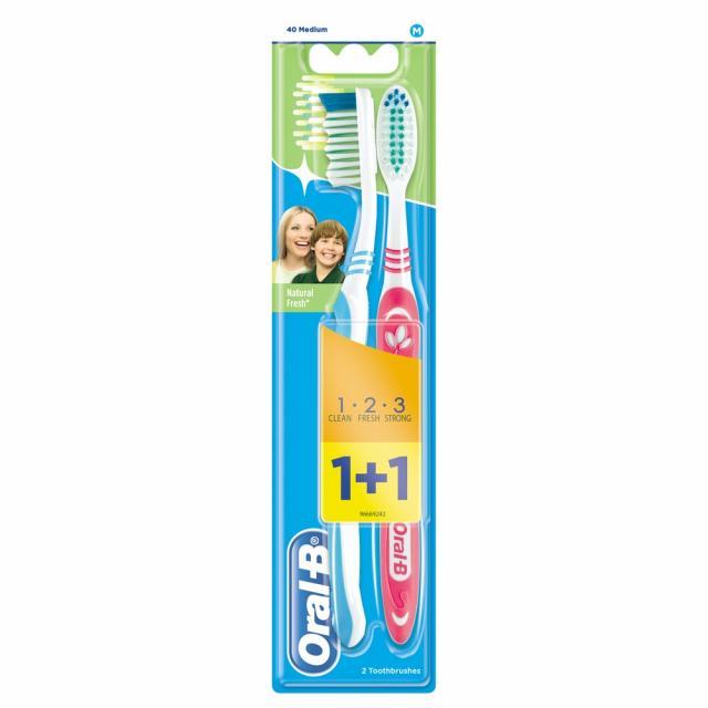 Орал Би зубная щетка 3Эффект Натуральная свежесть 40 средняя купить в Москве по цене от 98 рублей