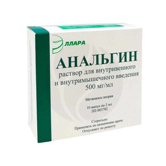 Анальгин раствор для инъекций 50% 2мл №10 купить в Москве по цене от 56 рублей