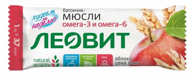 Худеем за неделю батончик-мюсли Яблоко/семена льна 30г купить в Москве по цене от 33 рублей