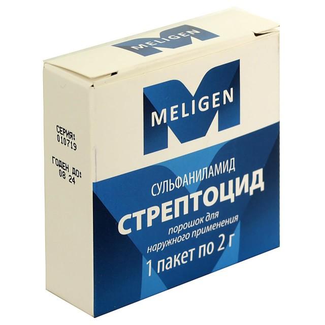 Стрептоцид порошок 2г купить в Москве по цене от 37 рублей