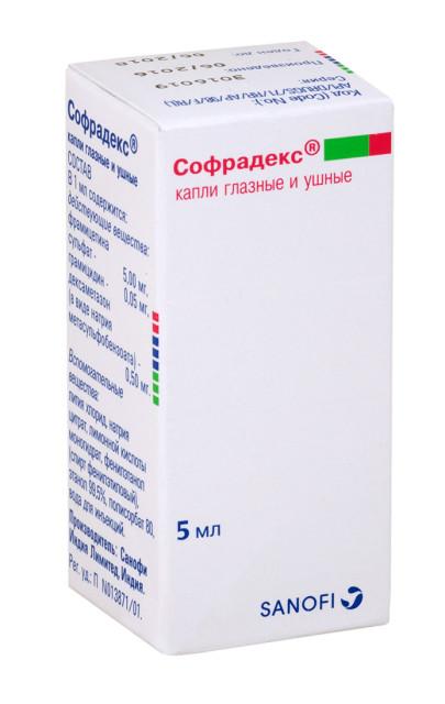 Софрадекс капли глазные/ушные 5мл купить в Москве по цене от 346 рублей