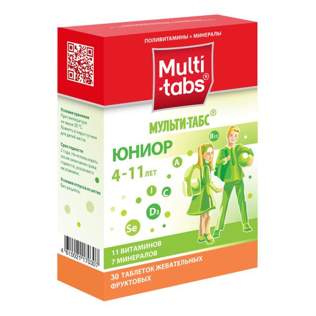 Мульти-табс Юниор Фрукты таблетки жевательные №30 купить в Москве по цене от 455 рублей