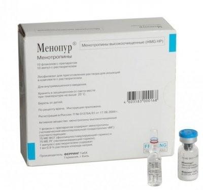 Менопур лиофилизат для приготовления раствора для инъекций 75МЕ ФСГ + 75МЕ ЛГ №10 купить в Москве по цене от 12400 рублей